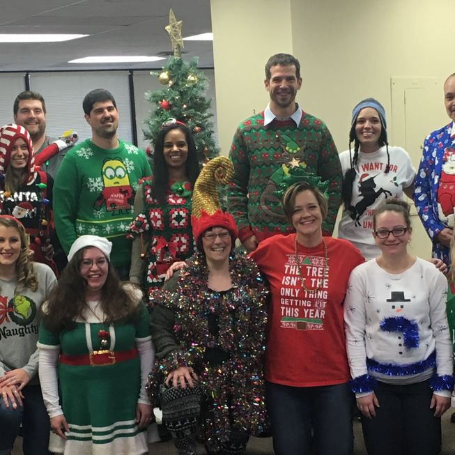 FMS Reading team in christmas sweaters
